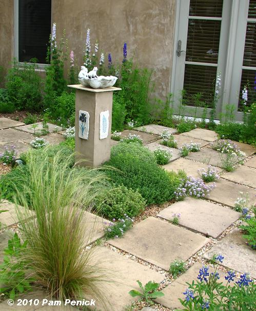 In The Middle Of An Open Space Within An Enclosed Area, Like This Tiny  Thyme Garden Planted Around A Bowl On A Pillar (Jenny Stockeru0027s Garden,  Austin)