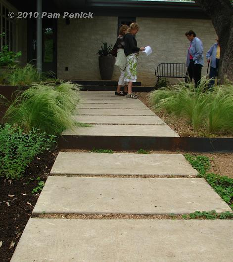 Landscapes in the backyard backyard landscape ideas for Cement garden paths