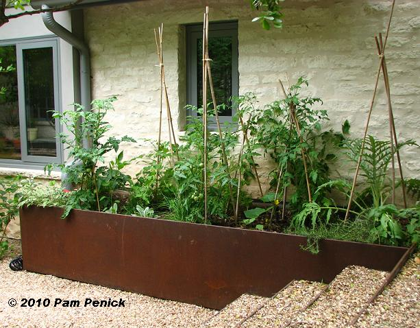 Try Raised Beds Made Of Cor Ten Steel. This One Keeps Vegetables At A  Convenient Height And Location, Right By The Back Door, Not Hidden Away ...