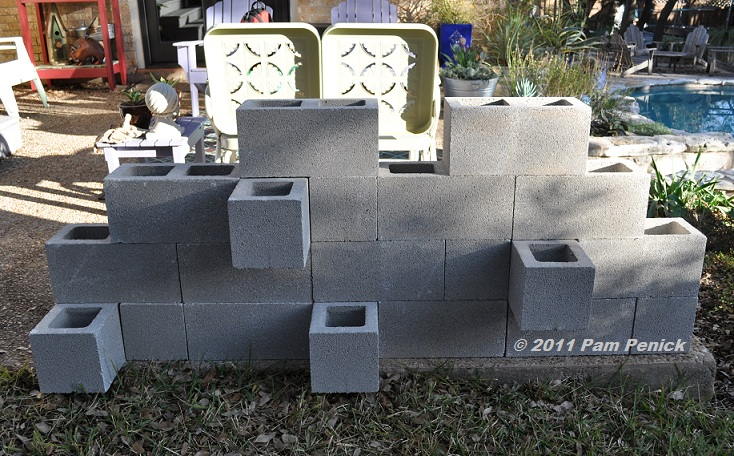 i experimented with various arrangements of the cinderblocks before settling on the current design be sure to stagger the blocks for