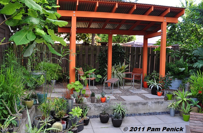 ... Sunken Patio, You See Another Enticing Seating Area Under A Hot Orange  Pavilion With A Galvanized Roof. Loree Uses It For Shade In Summer And  Shelters ...