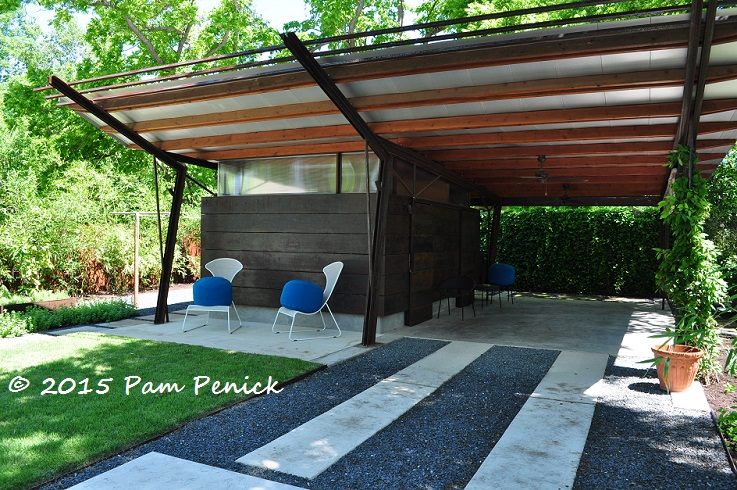 Geometric design creates modern garden for entertaining for Modern carport designs plans