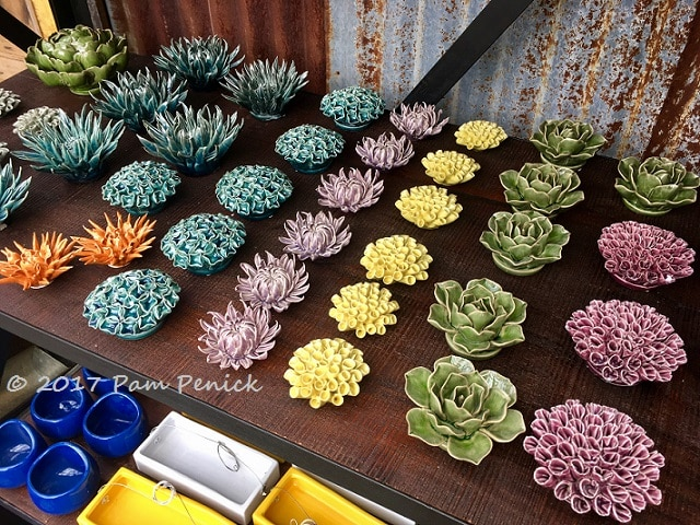 Rainbow Of Ceramic Succulents And Flowers At Hill Country