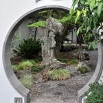 Moon doorway and standing stone at Lan Su Chinese Garden in Portland, Oregon