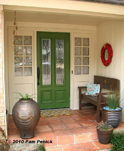 A Leafy Green Paint Job On The Door Brightens The Entry, And Painting The  Surround To Match The Rest Of The Porch Brings More Light Into The Space.
