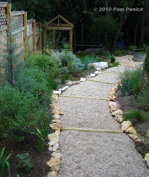 Hillside gravel and timber path done diggingdigging - Garden pathway design ideas with some natural stones trails ...