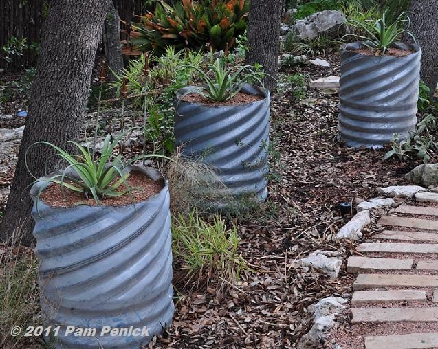 Corrugated Metal Drain Pipe Planters