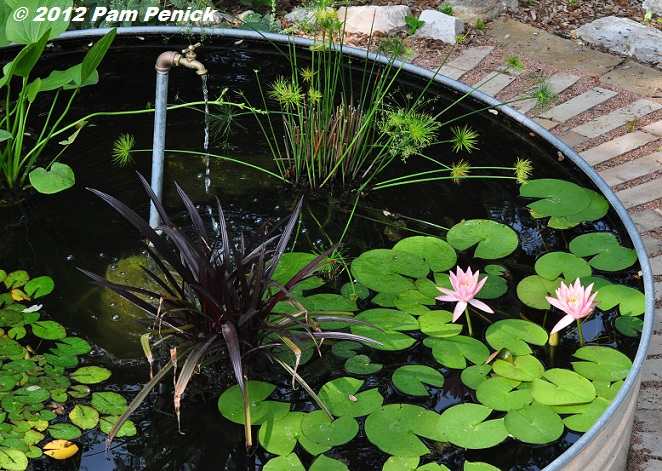 Plumbing pipe fountain adds life to stock-tank pond - Digging