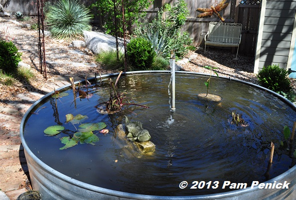 How to spring clean your stock tank container pond digging for Garden pond cleaning nets