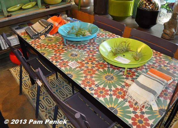 Garden Treasures Tiletop Brown Rectangle Patio Dining Table On