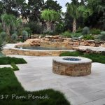 Fire pit patio, swimming pool, and garden in Austin, Texas